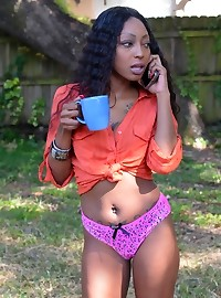 Hot photos of black babe Kayla having sex with her bf through pink panties.